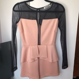 Other - Blush and Black Shorts Romper With Peplum